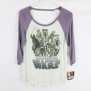 NWT STAR WARS Baseball Graphic Tee w Back Cut Out